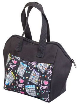 I Love Bingo Black 6 Pocket Tote Bag