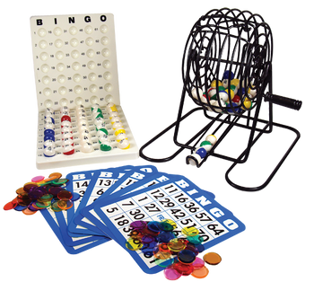Mini Bingo Cage With Multi Colored Balls