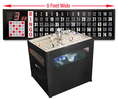 Professional Table Top bingo blower and 8 foot Flashboard with Verifier