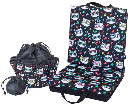 Cats With Glasses Double Cushion & Tote Set