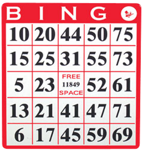 Single Face Bingo Hard Card Red Sold 20 Per Pack