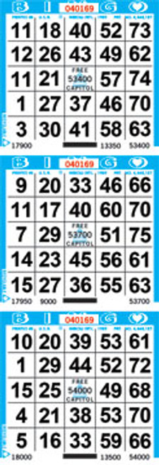 Sold by the case with 3,000 unique Bingo sheets. Standard series is 1-9,000. Other cuts and series available by request. If there are 3 bingo faces on the sheet of bingo paper it is known as a 3on bingo paper.