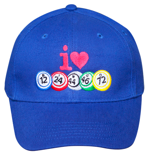 I Love Bingo Hat Blue