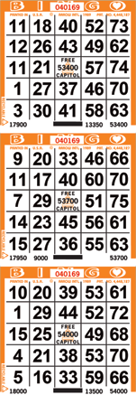 3on Vertical Bingo Paper 1000 per bundle