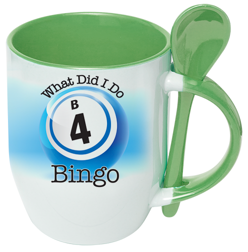 Spoon and Cup Green Bingo Coffee Mug
