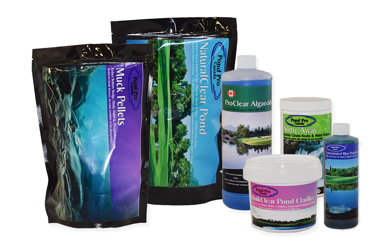seasonal small pond care and maintenance kits by pond pro Canada, complete with bacteria, algaecide and flocculants
