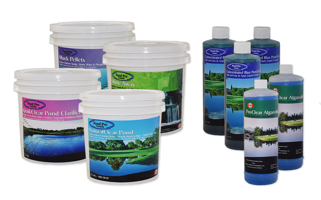 complete small pond kit up to 50,000 gallons to treat algae, sludge muck, weeds