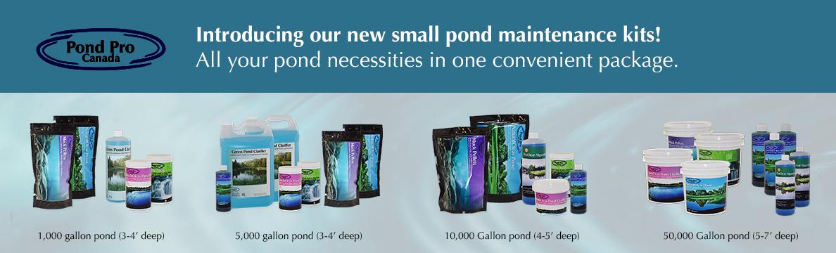 Small pond maintenance kits to reduce algae, pond scum and clarify water