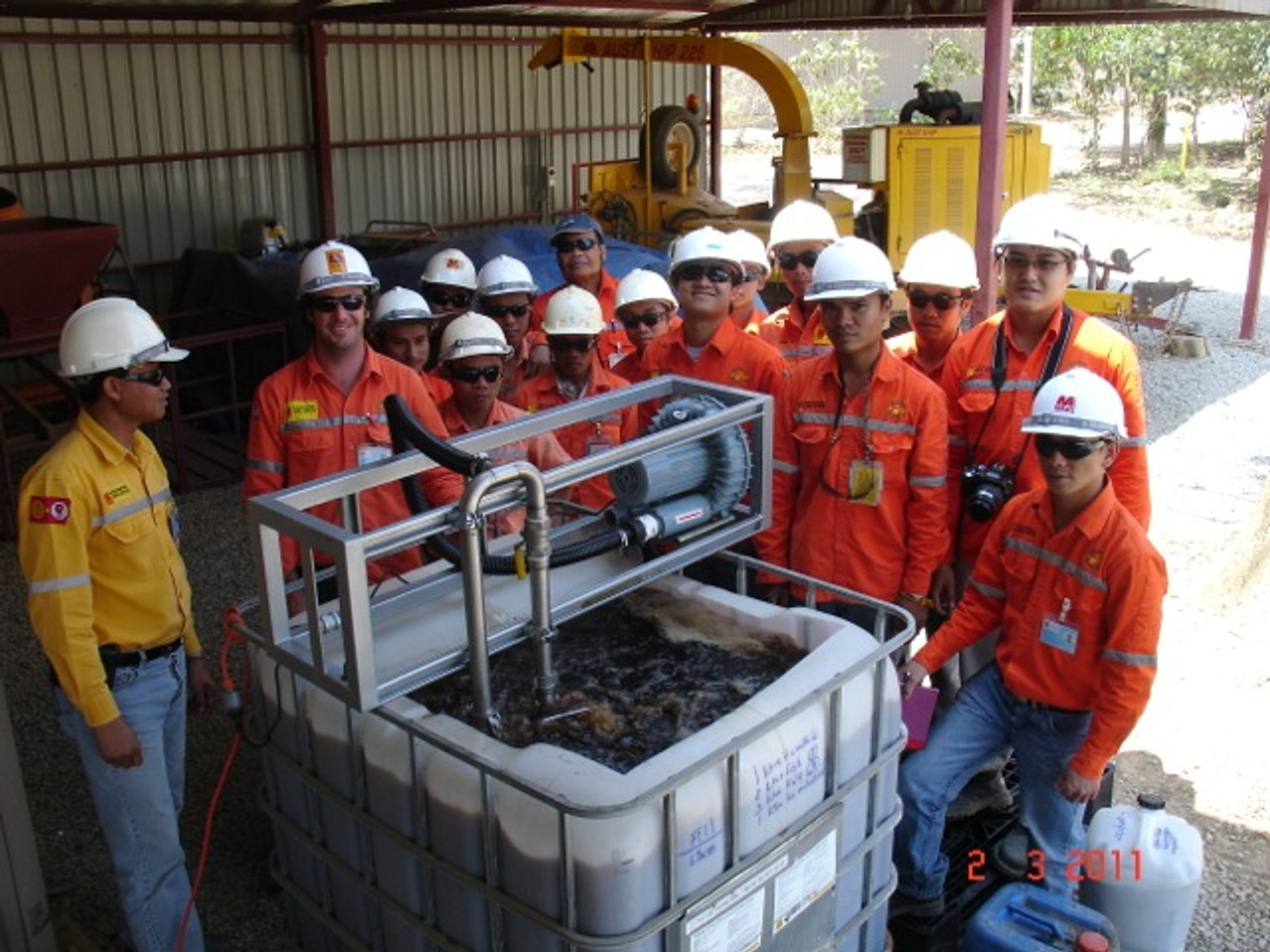 1000L compost tea brewer used successfully in Laos for mine rehabilitation