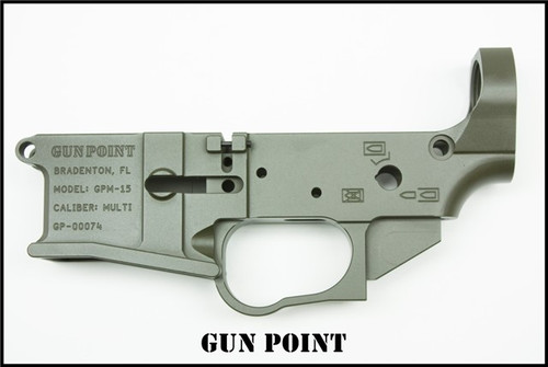 GUN POINT GPM-15 MULTI CAL AR15 STRIPPED BILLET LOWER RECEIVER (OD GREEN)
