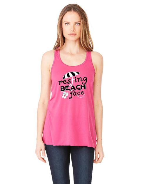 Resting Beach Face Ladies Flowy Racerback Tank