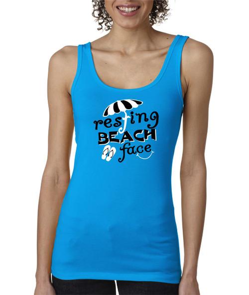 Resting Beach Face Ladies Tank Top