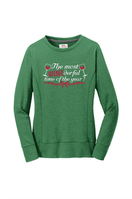 Ladies Winederful Holiday Midscoop French Terry