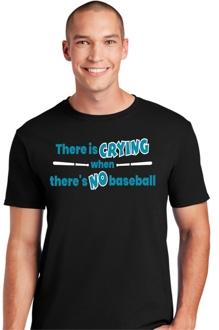 Crying when No Baseball T-shirt-Black