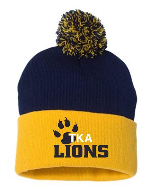 2021 New-TKA Navy & Gold Pompom hat