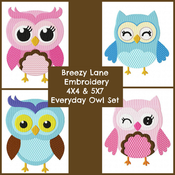 Everyday Owls Machine Embroidery Design Set 4X4 & 5X7