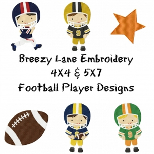 Football Machine Embroidery Design Set 4X4 & 5X7