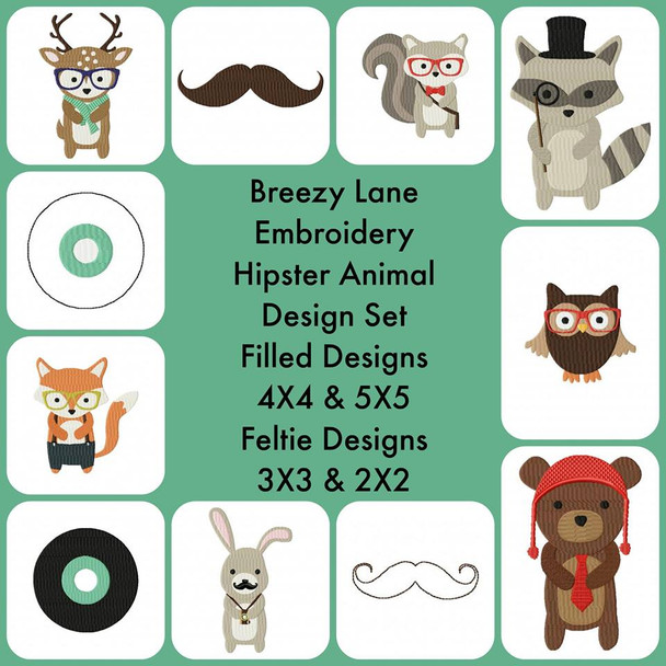 Hipster Animal Machine Embroidery Design Set 4X4 & 5X7