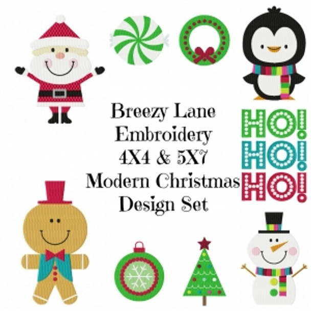 Modern Christmas Machine Embroidery Design Set 4X4 & 5X7