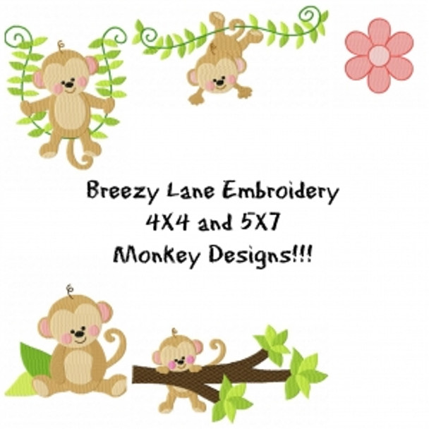 Monkey Machine Embroidery Design Set 4X4 & 5X7