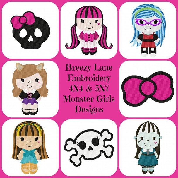 Monster Girls Machine Embroidery Designs 4X4 & 5X7