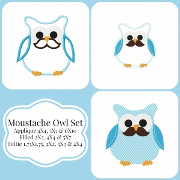 Mustache Owl Machine Embroidery Design Set