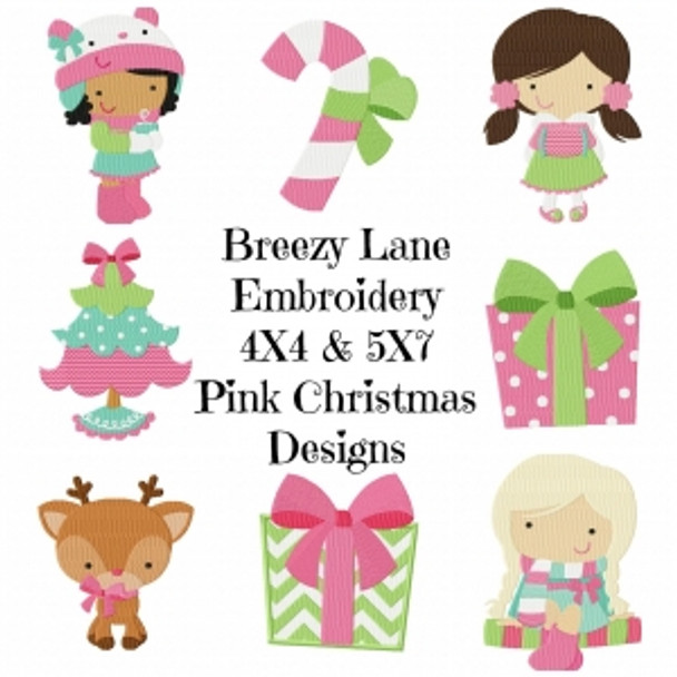 Boutique Pink Christmas Machine Embroidery Design Set 4X4 & 5X7