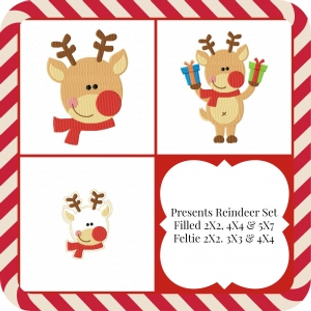 Presents Reindeer Machine Embroidery Design Set