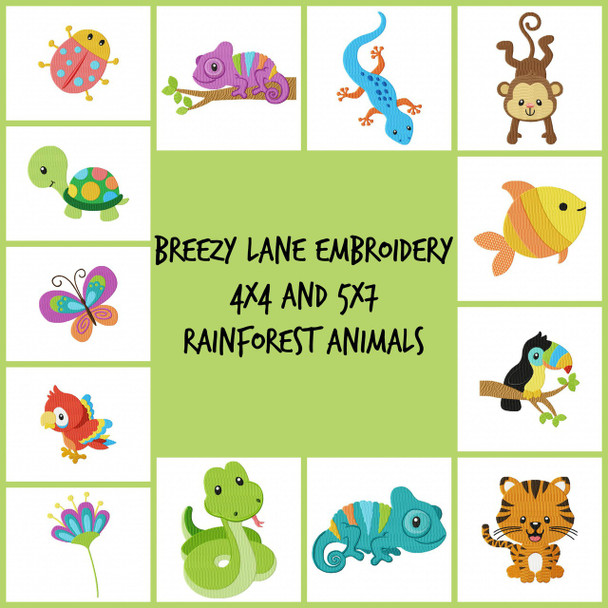 Rain forest Animals Machine Embroidery Design Set 4X4 & 5X7