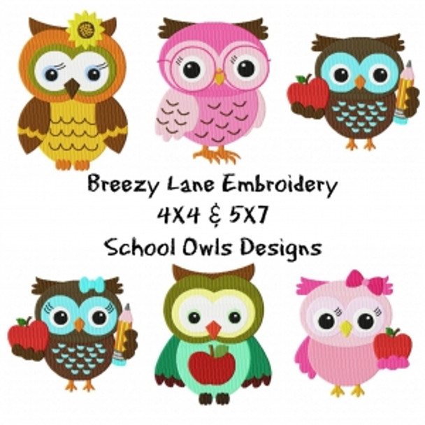School Owl Machine Embroidery Design Set 4X4 & 5X7