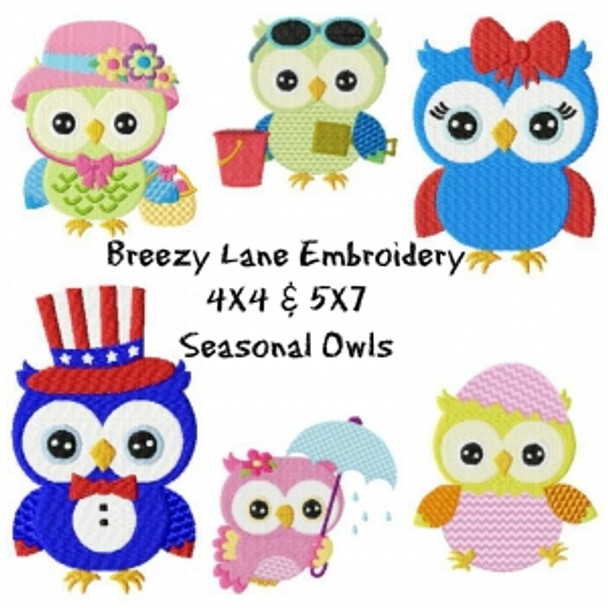 Seasonal Owls Machine Embroidery Designs 4X4 & 5X7