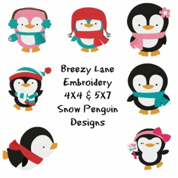 Snow Penguin Machine Embroidery Design Set