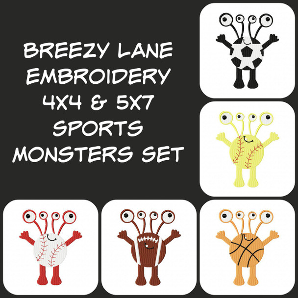 Sports Monsters Digital Machine Embroidery Designs 4X4 & 5X7