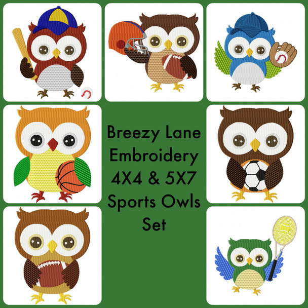Sports Owls Digital Machine Embroidery Design Set 4X4 & 5X7