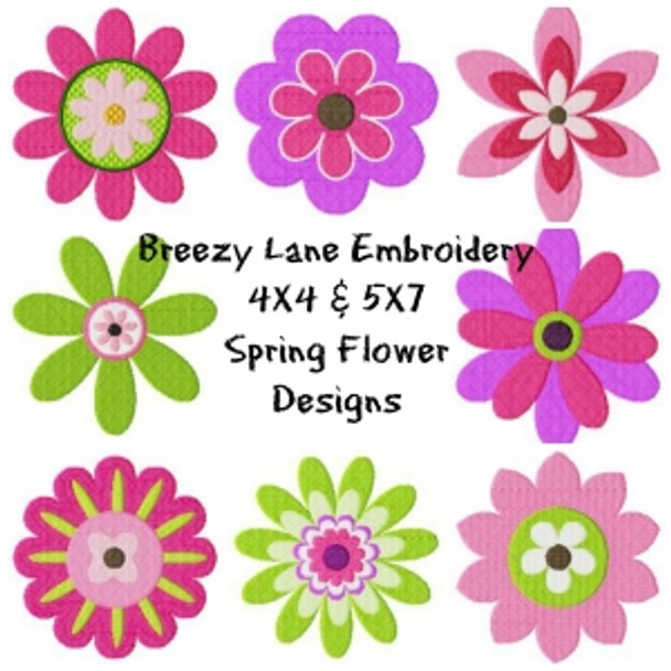 Spring Flowers Digital Machine Embroidery Design Set 4X4 & 5X7