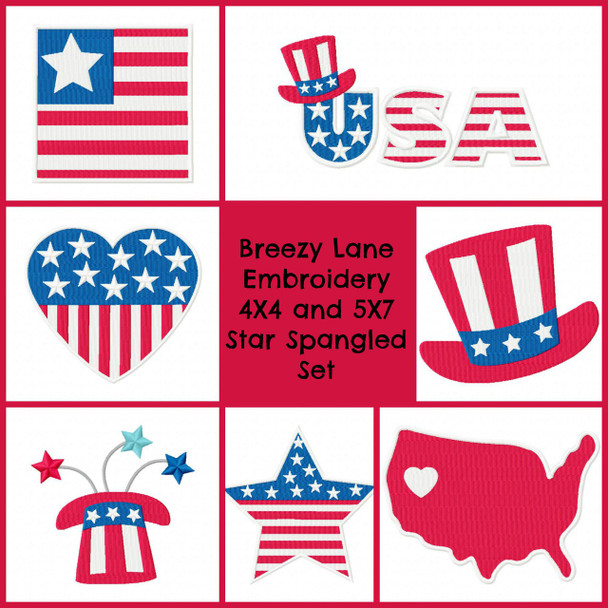 Star Spangled USA Patriotic Digital Machine Embroidery Design Set 4X4 & 5X7