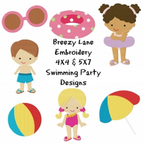 Swimming Digital Machine Embroidery Designs 4X4 & 5X7