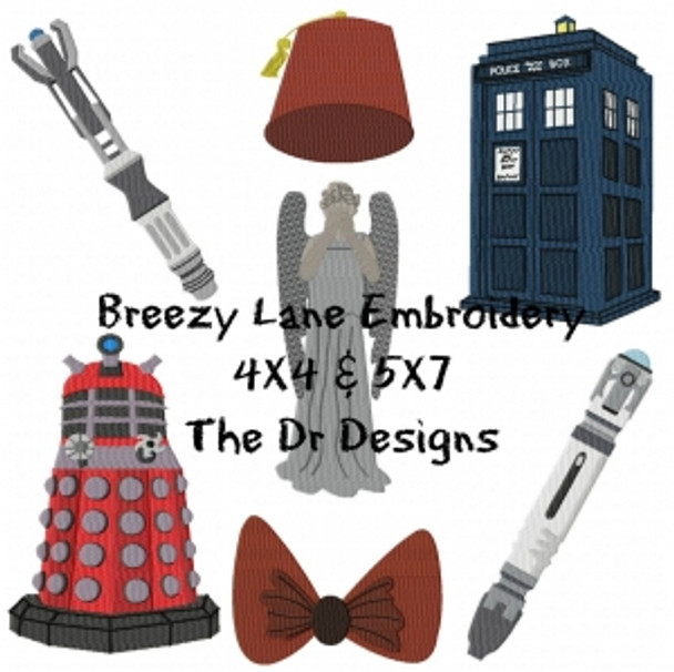 The Doctor Set Digital Machine Embroidery Design Set 4X4 & 5X7