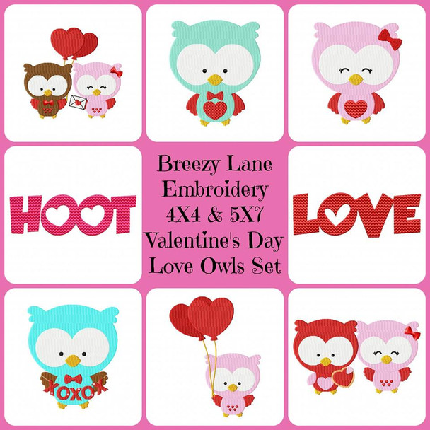 Love Owls Valentine's Day Digital Embroidery Design Set 4X4 & 5X7