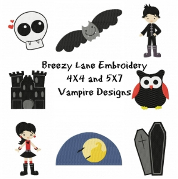 Vampire Halloween Digital Machine Embroidery Design Set 4X4 & 5X7