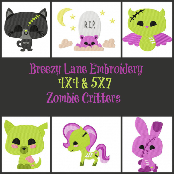 Zombie Critters 4X4 & 5X7 Digital Machine Embroidery Design Set