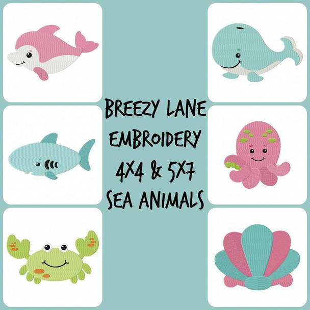Sea Animal Digital Embroidery Machine Design Set 4X4 & 5X7