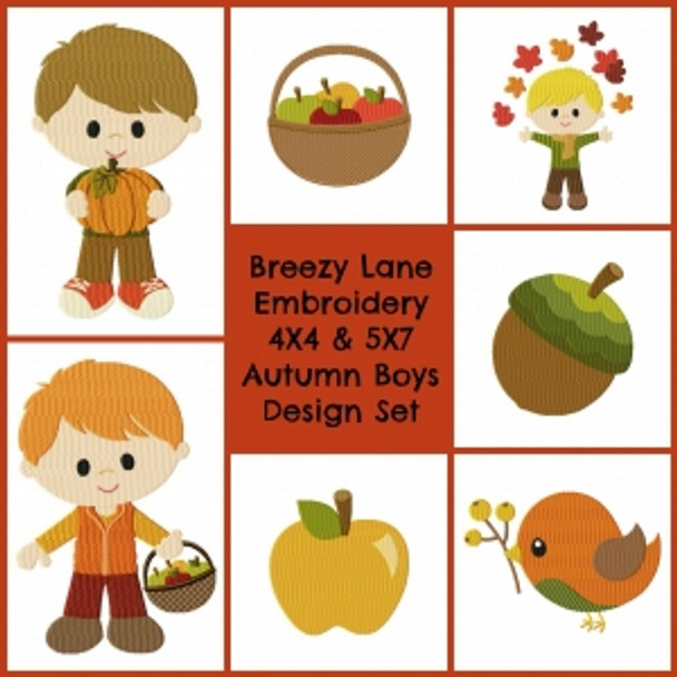 Autumn Boys Digital Machine Embroidery Design Set 4X4 & 5X7