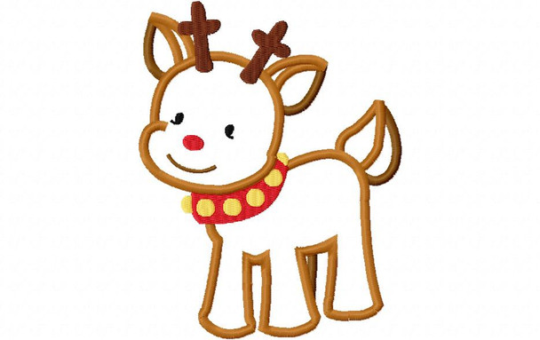 Baby Reindeer Christmas Applique 4X4, 5X7 & 6X10