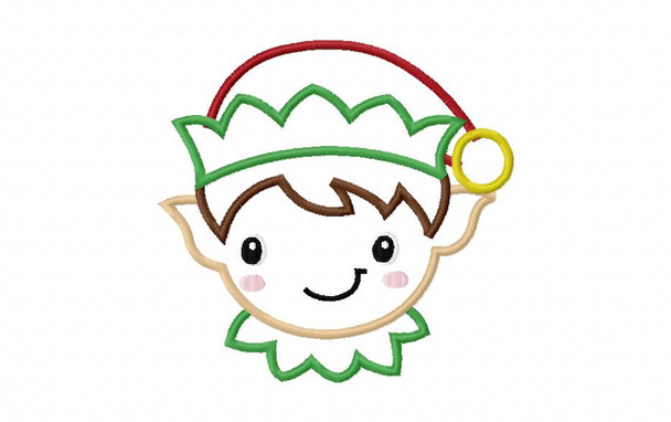 Boy Elf Face Applique Machine Embroidery Design 4X4, 5X7 & 6X10