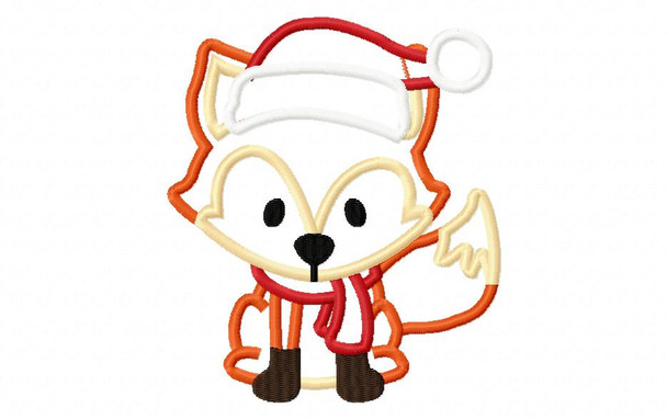 Christmas Fox Applique Digital Machine Embroidery Design 4X4, 5X7 & 6X10