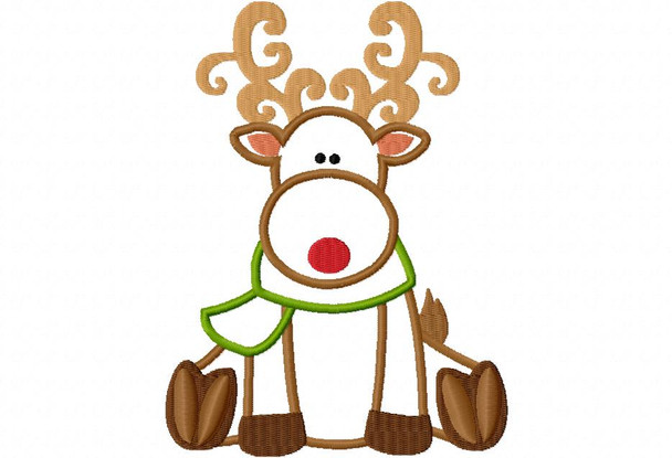 Curly Reindeer Christmas Applique Digital Machine Embroidery Design 4X4, 5X7 & 6X10