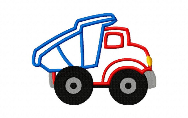 Dump Truck Applique Digital Machine Embroidery Design 4X4, 5X7 & 6X10