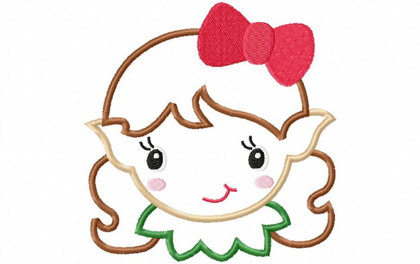 Girl Elf Face Applique 4X4, 5X7 & 6X10