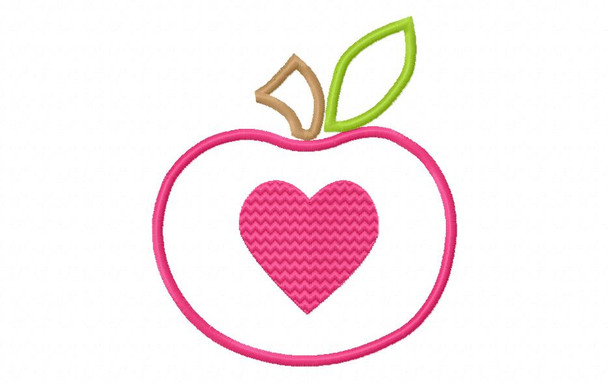 Heart Apple Applique Digital Machine Embroidery Design 4X4, 5X7 and 6X10